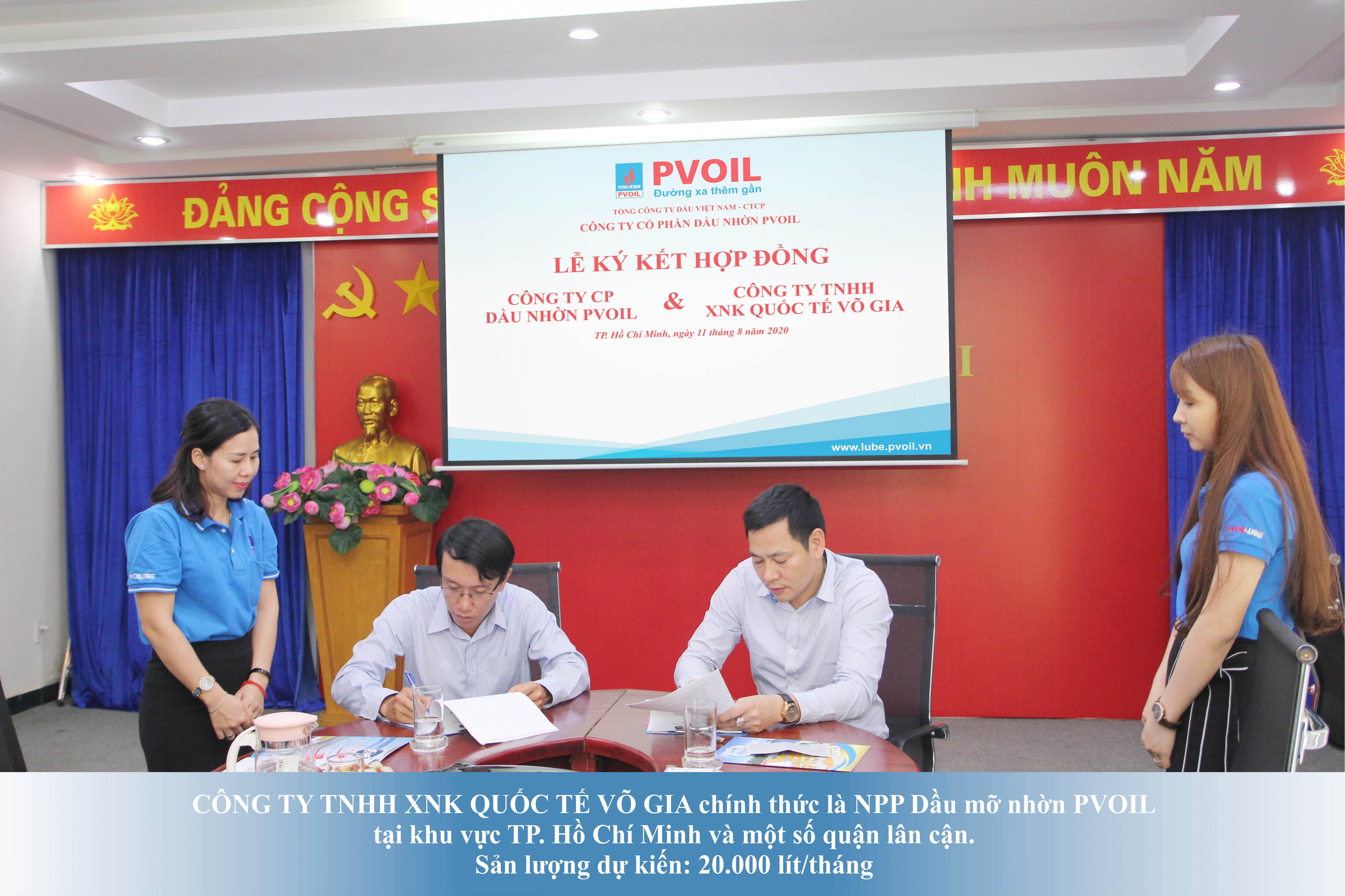 Lễ kí kết hợp đồng giữa Công ty Cổ phần Dầu nhờn PVOIL và Công ty TNHH XNK Quốc Tế Võ Gia